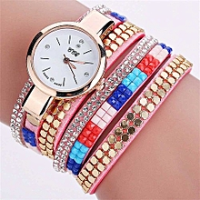 Fohting  CCQ Brand Vintage Leather Bracelet Watch Women Wristwatch Quartz  -Pink