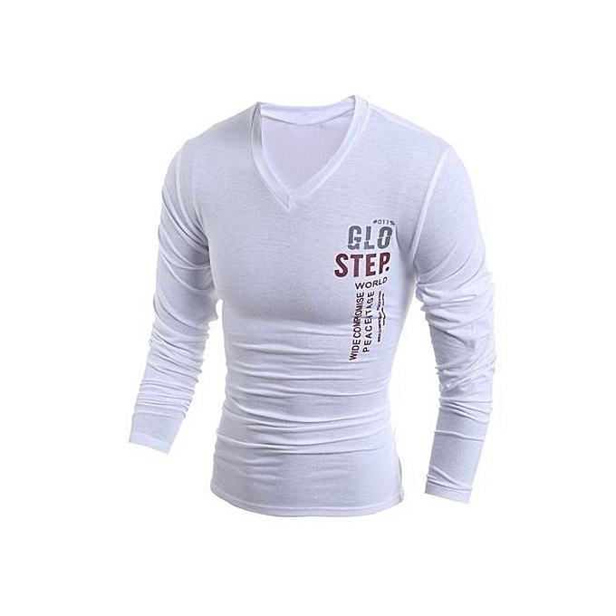73a1512c1 2017 Spring New Brand Letters Print Slim Fit T Shirt Men Casual V Neck Long  Sleeve