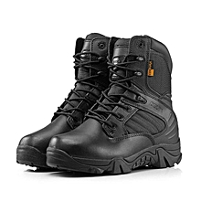 New Army Tactical Desert Mens Leather Combat Boots Military Shoes Soldier BLACK