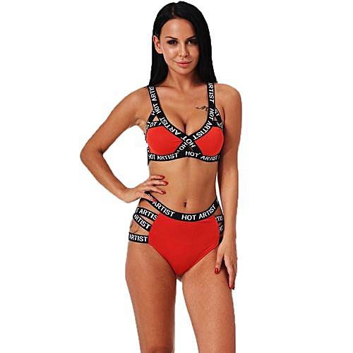 aea931d44e3 Fashion Wenrenmok Store Set Women Sexy Sport Bandage Lingerie Corset Push Up  Underwear Bra Briefs -Red