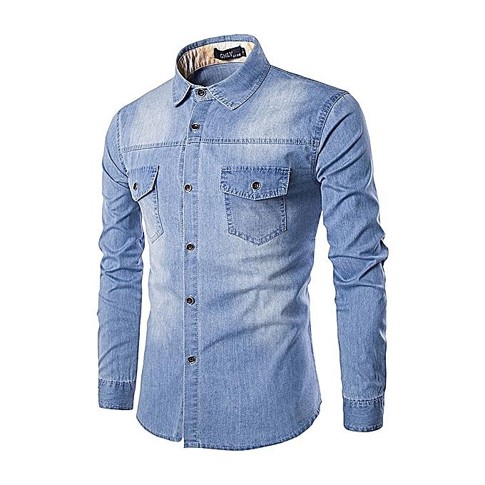 8326c21b Fashion Men's Denim Shirts Slim Long Sleeve Plus Size Shirt @ Best ...