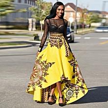 Hiamok_New African Women Printed Summer Boho Long Dress Beach Evening Party Maxi Skirt