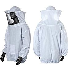 Beekeeping Protective Veil Smock Bee Suit Equipment White Beekeeper Coat Jacket White NEW