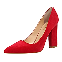 9.5cm High Square Heel Shallow Pointed Pumps  (Red)
