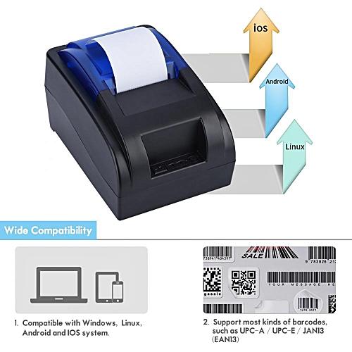 Thermal Printer 58mm USB Thermal Cash Receipt Printer 90mm/sec Support Android iOS Windows Linux EU Plug