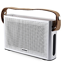 PINSHOW Goldentime Cowhide Strap Portable Bluetooth 4.0 Wireless Speaker Support Power Bank Function-SILVER