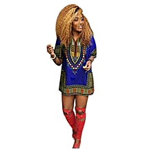 Hiamok  Women African Print Dress Casual Straight Print Above Knee Mini Dresses M