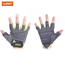BOER Paired Body Building Fitness Weightlifting Half Finger Gloves for Women Neon Green