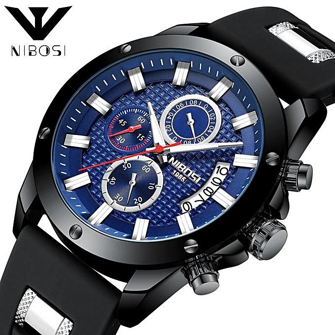 9ed09e762cb NIBOSI Mens Watches Top Brand Fashion Watch Quartz Watch Male relogio  masculino Men Army sports Blue