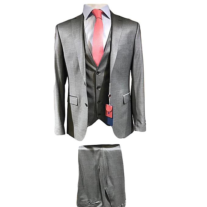 Grey 3 Piece Men's Suit- Coat+Trouser+Half Coat