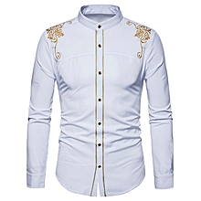 Turndown Collar Embroidered Design Shirt - WHITE