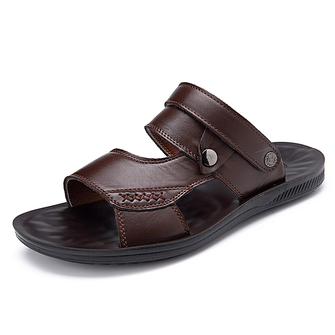 6ab4db583cd21 Fashion Men Comfy Sole Genuine Leather Sandals Two Way Wear Shoes ...