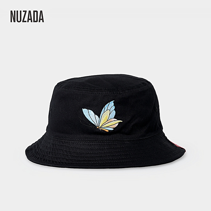 98d943ebc30 Dome Bucket Hat Double-Sided Female Fisherman Cap Embroidered Butterfly  Outdoor Black
