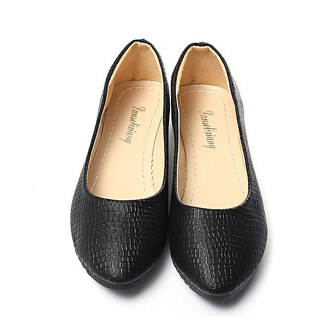 55d8027d5b4 ... Womens Leather Slip On Flats Loafers Casual Ballet Ballerina Shoes  Single Shoes black ...