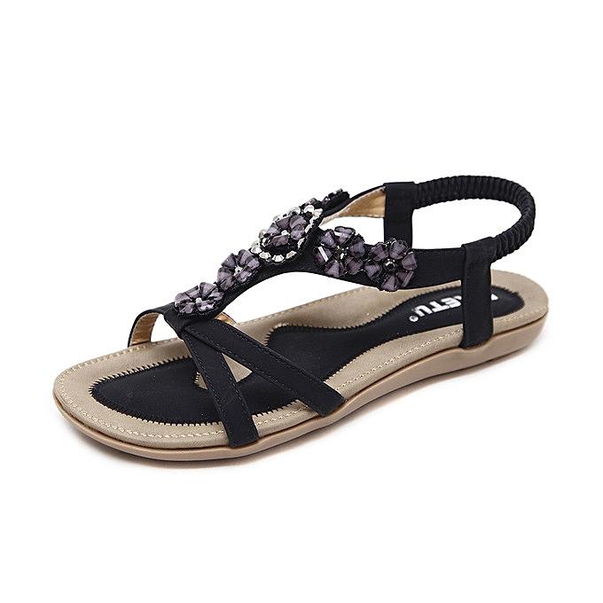 2ffadd0613c8 New super large size 43-45 woman sandals summer sweet bohemian beach flower  flat shoes