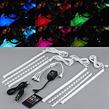 4pcs 7 Color Car Truck Interior Decorative Lighting LED Glow Atmosphere Light