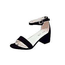 Women Single Band Chunky Heel Sandal With Ankle Strap Summer Sandals Shoes-Black (EU Sizing)