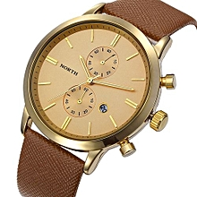 Fashion Men Casual Waterproof Date Leather Military Japan Watch Gift GD