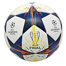 2013-2014 profession Champions League Official size 5 Football ball Material PU Professional Match Training Soccer Ball Free Gas Needles and Net Bag (Lisbon 2014) (Orange)