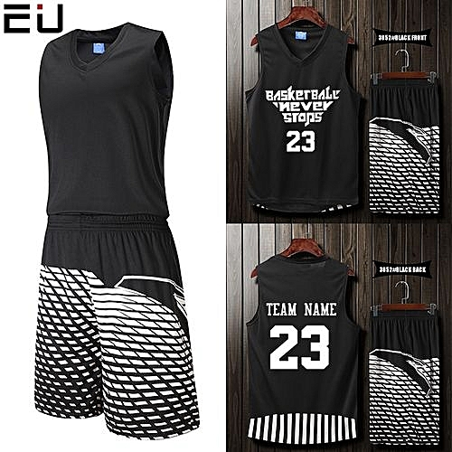 f91acc7d2d9 Eufy Blank Customized Casual Men's Basketball Team Sport Jersey Uniform -Black(3052)