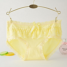 6 packs Ladies panties lace ladies sexy underwear mid-rise briefs Bow Cute cotton-Yellow