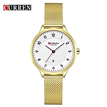 Female Quartz Watch Date Display Ultra-Thin Knit Strap Ladies Top Brand Wristwatch For Women - GOLD