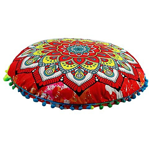 a0e67436366 Generic Indian Mandala Floor Pillows Round Bohemian Cushion Pillows Cover  Case Cushions - Multicolor