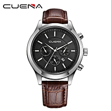 CUENA Men Casual Checkers Faux Leather Quartz Analog Wrist Watch With Calendar-Brown