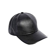 BLACK  Leather Men's Women's  Adjustable Baseball Unisex cap