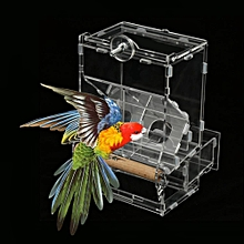 1Pc Acrylic Pet Parrots Birds Seeds Automatic Food Feeder Cage Toy Transparent S Double Type