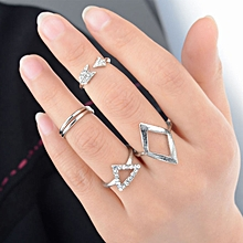 bluerdream-Women Arrow Diamond Ring Triangle Joint  Knuckle Ring Set Of 5 Rings -Silver