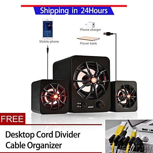 【Buy 1 Get 1 Free Gift】SADA Mini USB 2.1 Wired Subwoofer 3D Stereo Bass Speaker with LED Light for Cellphone Laptop