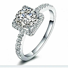 Silver 92.5 Sterling Engagement  Ring With Reflective Cubic Zirconia Rock