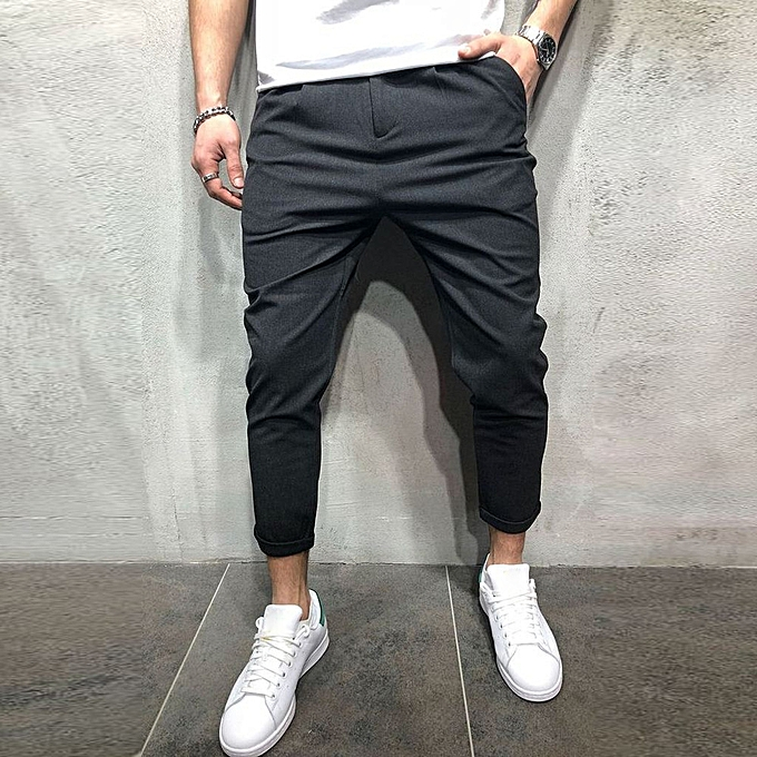 5e84a9748f2894 Xiuxingzi Men Sweatpants Slacks Casual Elastic Joggings Solid Baggy Pockets Trousers  Pant