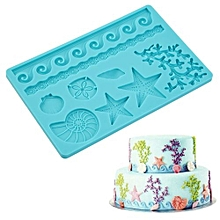 Creative Baking Tools Seashell Conch Wave Star Fondant Cake Embossing Decor Silicone Mold - Blue