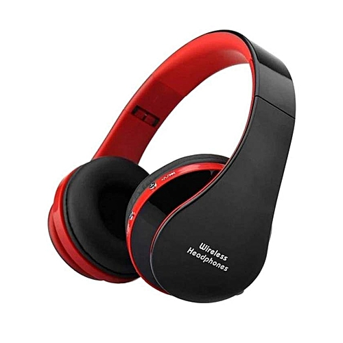 NX-8252 Wireless Bluetooth Earphone Big Casque Audio Cordless Headphone Headset For Computer Head Phone PC With Mic-Red