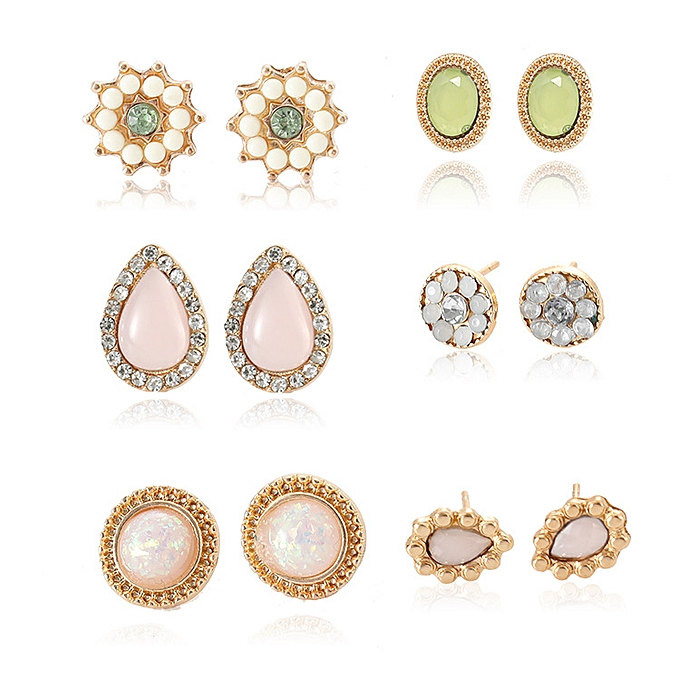 43a486e7c Fashion Jewelry Sets Popular jewelry earrings 6 pairs of suit gem ...