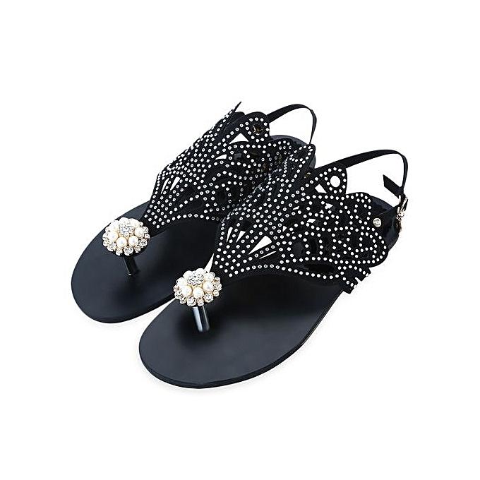 001542859 ... Flip-flop Flat Sandals For Women Rome Rhinestone Design Shoes-BLACK ...