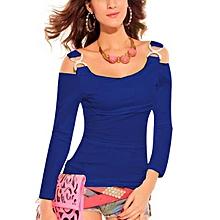 ZANZEA Women Tops Off Shoulder Long Sleeve T Shirt Casual Blouse