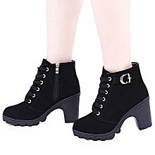 Lace Zipper Bock Heel Ankle Boots: Black.