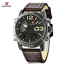 NF9095M Male Dual Movt Watch Calendar Luminous 3ATM Genuine Leather Band Wristwatch-DEEP BROWN