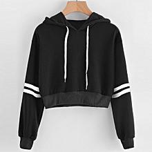 Xiuxingzi Women Varsity-Striped Drawstring Crop Hoodie Sweatshirt Jumper Crop Pullover Top