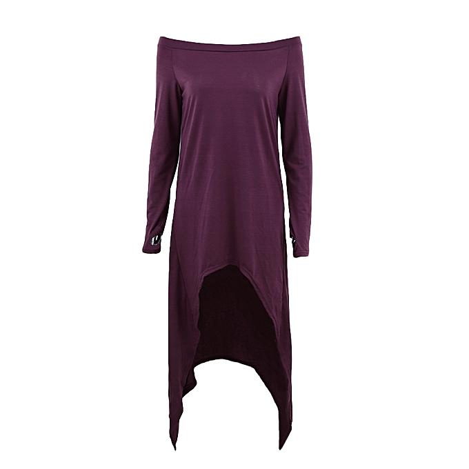 ac50687317ac New Fashion Women T-shirt Dress off Shoulder Long Sleeve Asymmetric Casual  Loose Dress Pullover