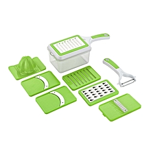 8 in 1 Fruit and Vegetable Slice & Grater Green .