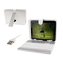 8 inch Universal Tablet PC Leather Case with USB Plastic Keyboard / Holder(White)
