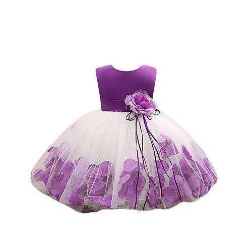 9271fea2690c0 Lovely Baby Girls Fluffy Sleeveless Princess Dress With Flower-Purple