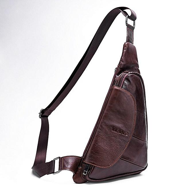 d1f0c624c804 New Cowhide Men Sling Day Pack Fashion Half Moon Messenger Shoulder Bag  High Quality Leather Male
