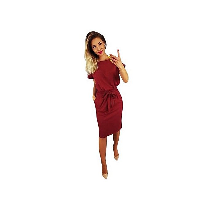 cf78a093479 Technologg Dress Womens Casual Pocket Summer Ladies Short Sleeve Evening  Party Mini Dress-As Show