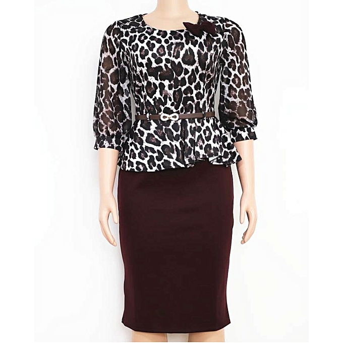 66fd6dea2c1 Top Africa Women Leopard Print Plus Size Peplum Midi Bodycon Belt  Dress(BLACK)