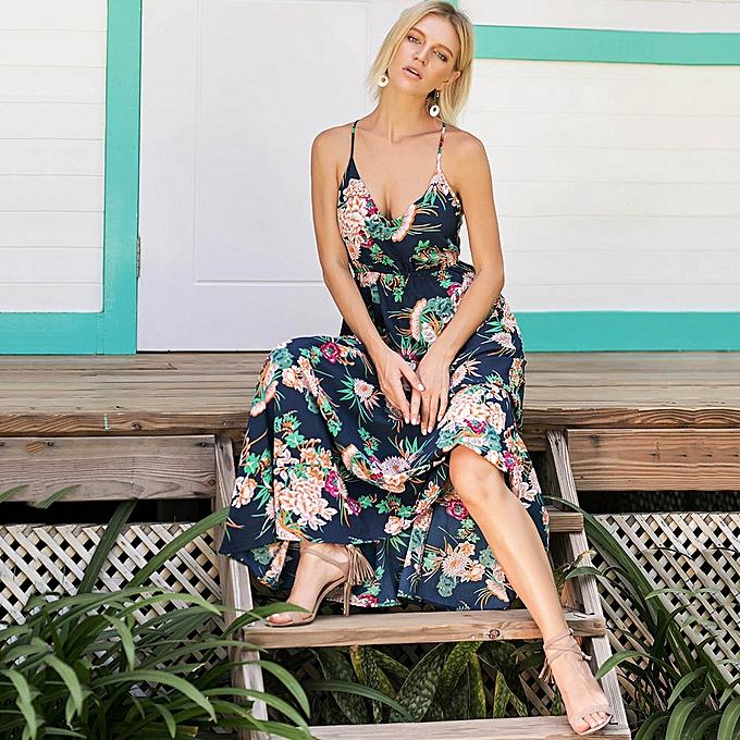 ab95bdfb17fe Fashion Women Floral Print Boho Maxi Dress Spaghetti Strap Elastic Waist  Beach Long Dress Dark Blue
